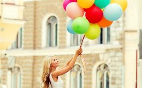 Картинка шарики, радость, счастье, воздушные шары, girl, happy, woman, smile, balloons