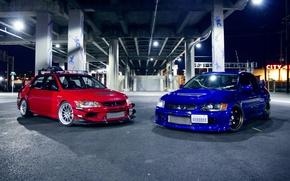Обои красный, red, эволюшн, Evo, митсубиши, Mitsubishi, тюнинг, синий