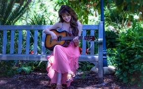Картинка гитара, девушка, музыка, азиатка