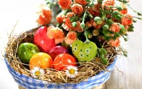Картинка цветы, розы, яйца, весна, пасха, разноцветные, flowers, spring, Easter, holiday