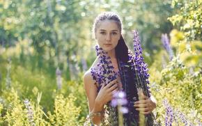 Обои лето, девушка, веснушки, прелесть, цветочки, Алина