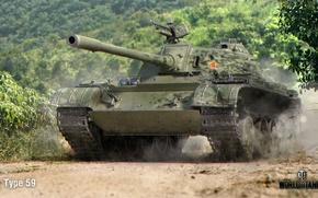 Картинка дорога, лес, пыль, танк, китайский, средний, World of Tanks, Type-59