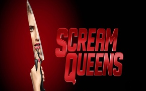 Картинка red, girl, blood, long hair, woman, face, blonde, assassin, hands, knife, cold, nails, Emma Roberts, …