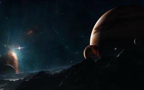 Картинка звезды, планеты, луны, звездная система, иные миры, starlight