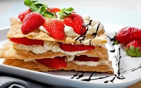 Картинка ягоды, клубника, торт, пирожное, cake, крем, десерт, выпечка, сладкое, sweet, strawberry, dessert, berries, snack