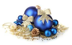 Картинка звезды, украшения, снежинки, шары, игрушки, Новый Год, Рождество, белый фон, шишка, Christmas, синие, New Year, …