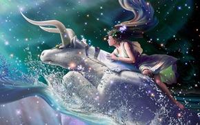 Картинка волны, девушка, брызги, звёзды, фэнтези, Европа, полёт, fantasy, созвездие, диадема, венок, flight, stars, бык, CG …