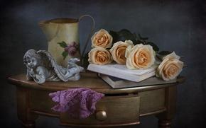 Картинка розы, ангел, книга, натюрморт