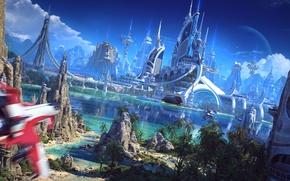 Картинка beach, river, bridge, rocks, sand, palm trees, palace, Spaceship, sailboat, suna, vessel, futuristic world