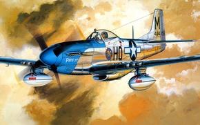 Картинка рисунок, Mustang, арт, North American, P-51D