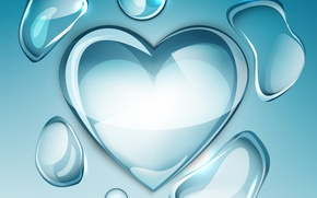 Картинка фон, сердце, водяные капли