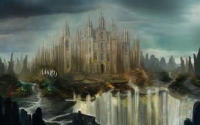Картинка замок, скалы, водопад, арт, крепость, реки