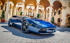Картинка синий, отражение, тюнинг, блеск, колонны, суперкар, автомобиль, дворец, Lamborghini Murciélago