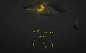 Картинка облака, ночь, луна, нло, Кошки