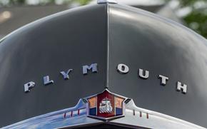 Картинка ретро, капот, эмблема, Plymouth