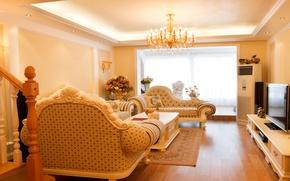 Картинка диван, телевизор, окно, столик, гостиная