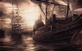 Картинка море, небо, вода, корабли, паруса, живопись