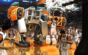 Картинка машина, осколки, игра, робот, мячи, арт, баскетбол, разбитое, игроки, матч