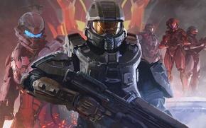 Картинка Взгляд, Microsoft, Оружие, Halo, Арт, Мастер Чиф, Master Chief, 343 Industries, Halo 5: Guardians