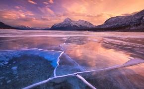 Картинка лед, небо, облака, закат, горы, озеро