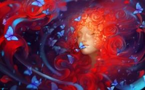Картинка девушка, бабочки, цветы, арт, Helen Rusovich