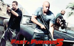 Обои додж, paul walker, Charger, Dodge, мужики, машина, Форсаж 5, отличный фильм, Fast Five, с оружеем, ...