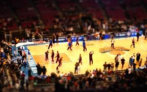 Картинка обои, спорт, Нью-Йорк, wallpaper, зал, баскетбол, арена, площадка, New York, зрители, nba, Tilt-shift, нба, Никс, …
