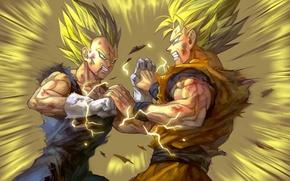 Картинка битва, парни, anime, art, dragon ball, vegeta, son gokuu