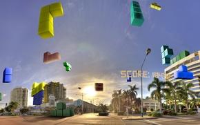 Обои небо, город, блоки, тетрис, score