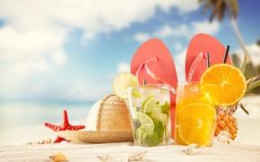Обои beach, коктейли, ракушки, песок, lime, cocktails, pineapple, summer, сланцы, шляпа, морская звезда, flip-flops, пляж, hat, ...