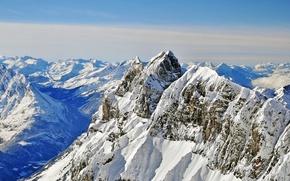 Картинка white, sky, blue, winter, mountains, clouds, snow, sunlight