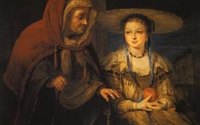 Картинка портрет, картина, мифология, Арт де Гелдер, Вертумн и Помона