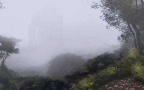 Картинка деревья, туман, камни, фигура, силуэт, арт, дорожка, гигант