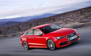 Картинка Audi, Красный, Вечер, Капот, Седан, Автомобиль, В Движение