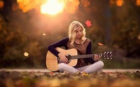 Картинка осень, девушка, гитара, Autumn Melody