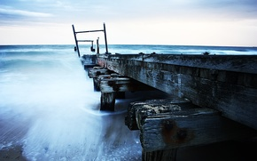 Обои море, пасмурная, причал, погода, старый, пирс, небо