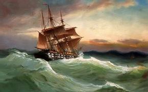 Картинка море, волны, небо, пейзаж, шторм, корабль, картина, паруса, Alfred Jansen