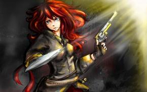 Картинка девушка, пистолет, волосы, лезвие, рыжая