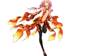 Картинка чулки, белый фон, розовые волосы, Guilty Crown, Yuzuriha Inori, Корона грешника