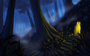 Обои лес, деревья, ночь, арт, лестница, ступеньки, пещера, вход