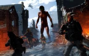 Картинка деревня, разрушение, солдаты, гигант, Shingeki no Kyojin, Eren Yeager, titan, Attack On Titan, Titan Shifter, ...