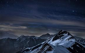 Картинка горы, ночь, звёзды