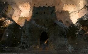 Картинка замок, факел, путник