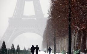Картинка city, Paris, trees, France, winter, snow, street, people, romantic, couple, La tour Eiffel, walking, the …