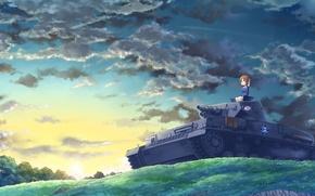 Картинка небо, облака, пейзаж, восход, холм, арт, девочка, танк, girls und panzer, kasei, nishizumi miho, xyz