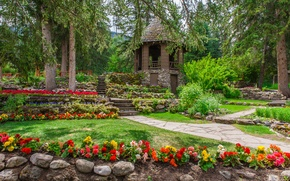 Картинка зелень, трава, деревья, цветы, парк, камни, газон, сад, Канада, ступеньки, беседка, кусты, Банф, бегонии, Cascade …