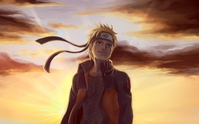 Картинка облака, закат, арт, парень, Naruto, бандана