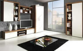 Картинка дизайн, город, стиль, комната, интерьер, гостиная