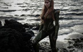 Обои cinema, wallpaper, rock, beach, sea, crown, movie, Amber Heard, hero, queen, film, suit, princess, DC ...
