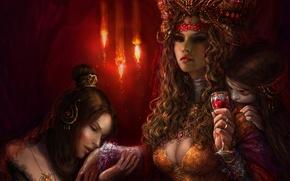 Картинка украшения, Девушки, свечи, бокал вина, роскашь